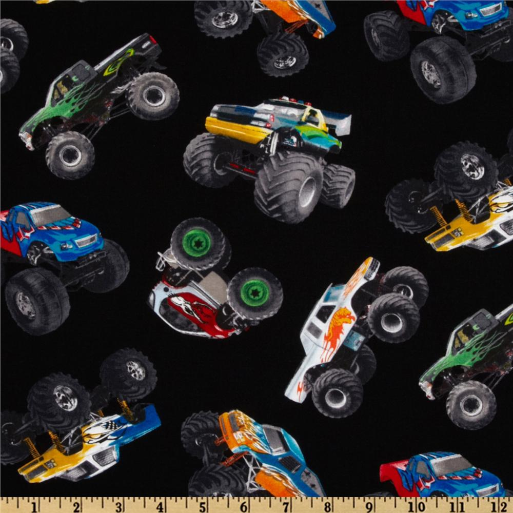 in motion monster trucks black discount designer fabric