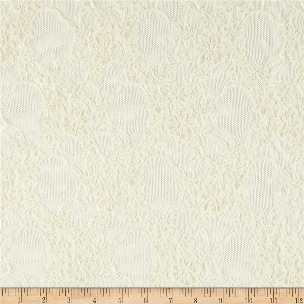 Stretch Lace Floral Ivory