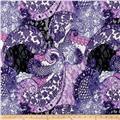 Brushed Hatchi Sweater Knit Paisley Purple