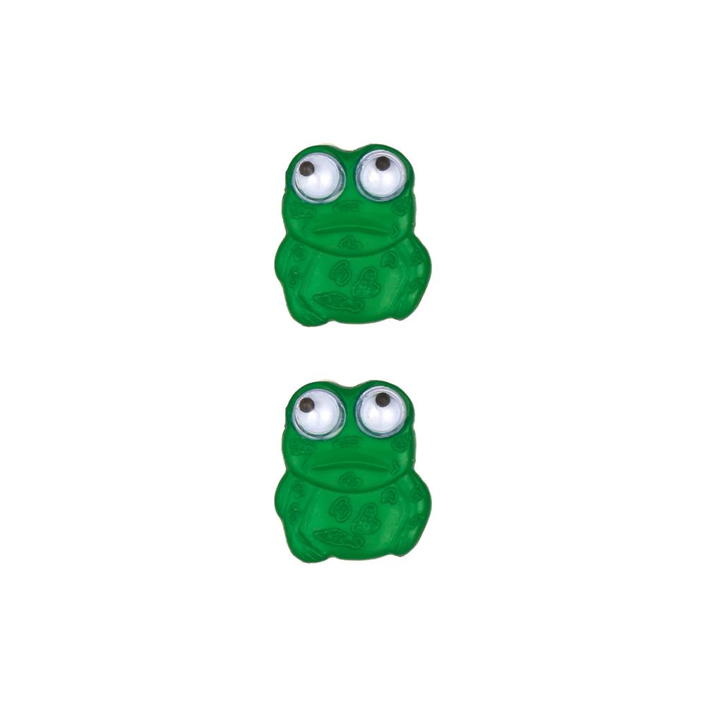 Dill Novelty Button 3/4'' Frog with Googley Eyes Green