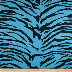 Tissue Slub Cotton Jersey Knit Zebra Black/Teal
