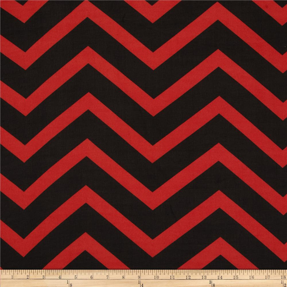 Chiffon large stripe chevron red black discount designer for Black fabric