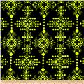 Stretch Poly Spandex Jersey Knit Diamond Shape Vector Neon Yellow on Black