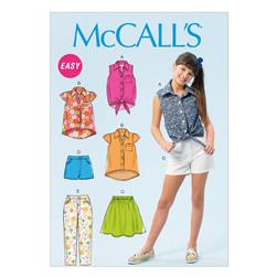 McCall's Girls'/Girls' Plus Tops, Skirt, Shorts and Pants Pattern M6951 Size GRL