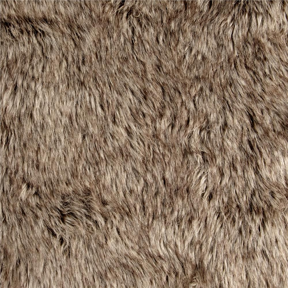 Luxury Faux Fur Tipped Wolf Brown