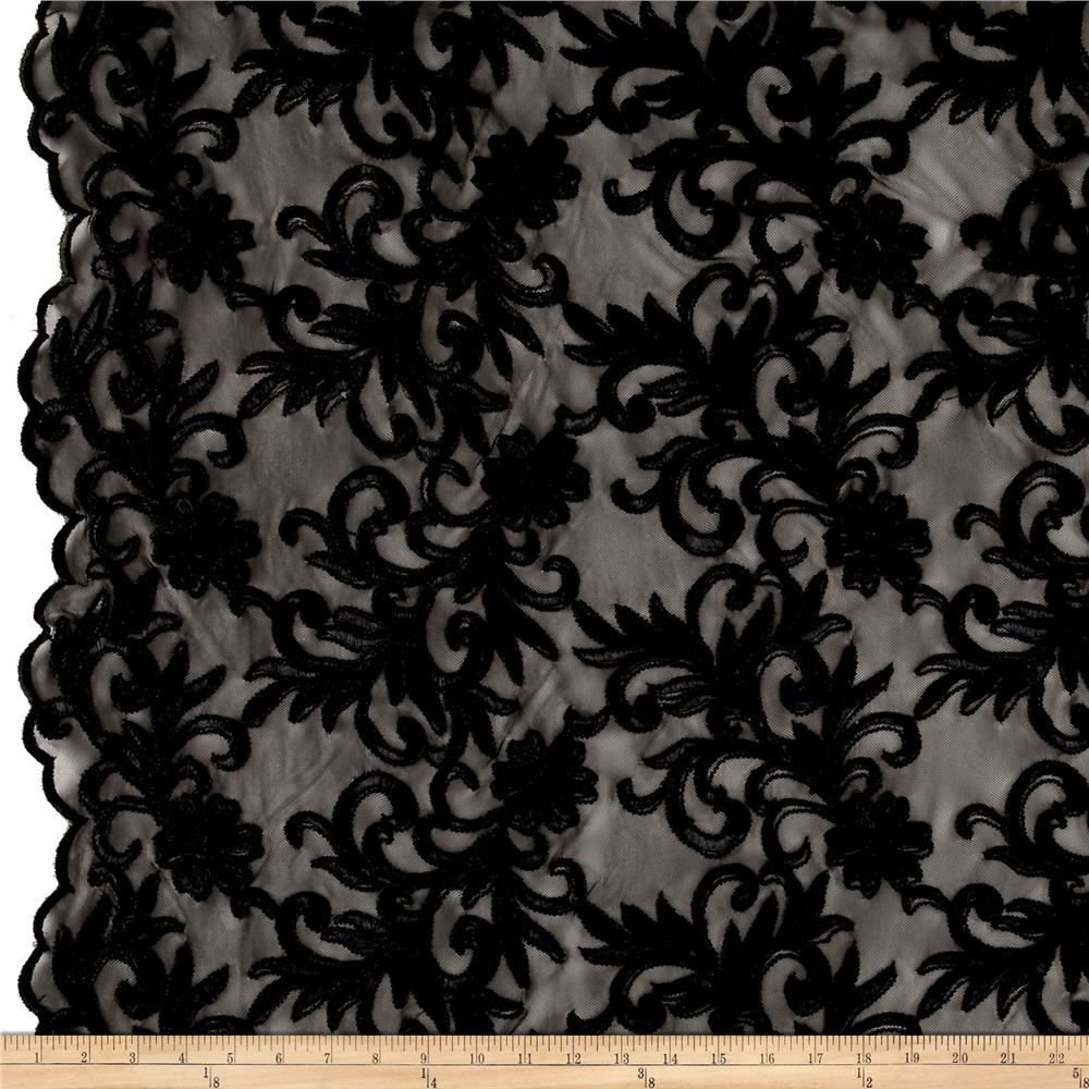 Heavyweight Embroidered Mesh Lace Black