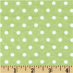 Aunt Polly's Flannel Small Polka Dot Sage/White