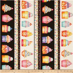 Sweet Things Cupcakes Repeating Stripe Black/Multi