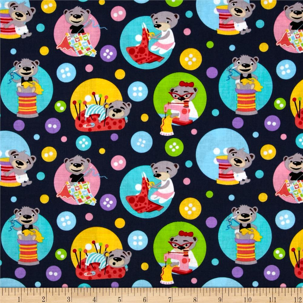 Michael Miller Kids Sewing Bears Gray