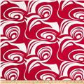 Stretch Poplin Abstract Red/White