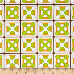 Cotton Poplin Retro Tile Orange/Lime