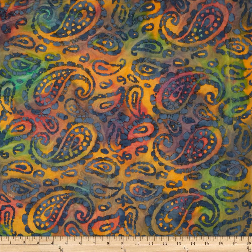 Indian Batik Bronze Mosaic Paisley Orange/Green