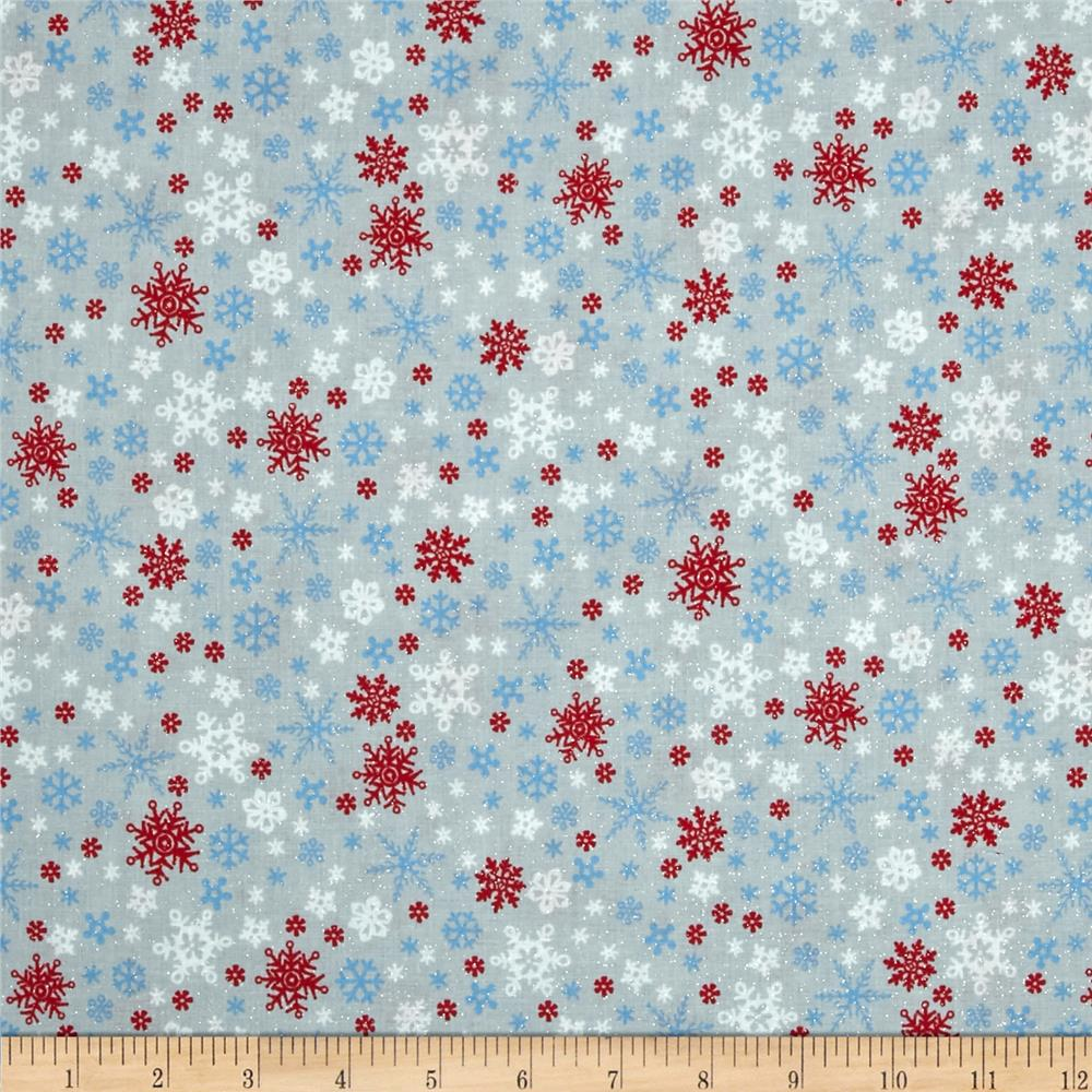 Let It Snow Glitter Multi Snowflake Gray
