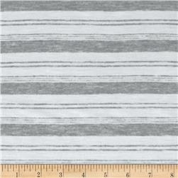 Yarn Dyed Jersey Knit Stripes Heather Grey/White