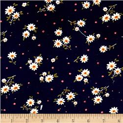 Corduroy White Flowers on Navy