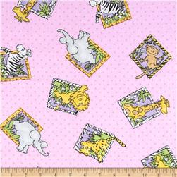 Flannel Block Jungle Animals Polka Dot Pink Fabric