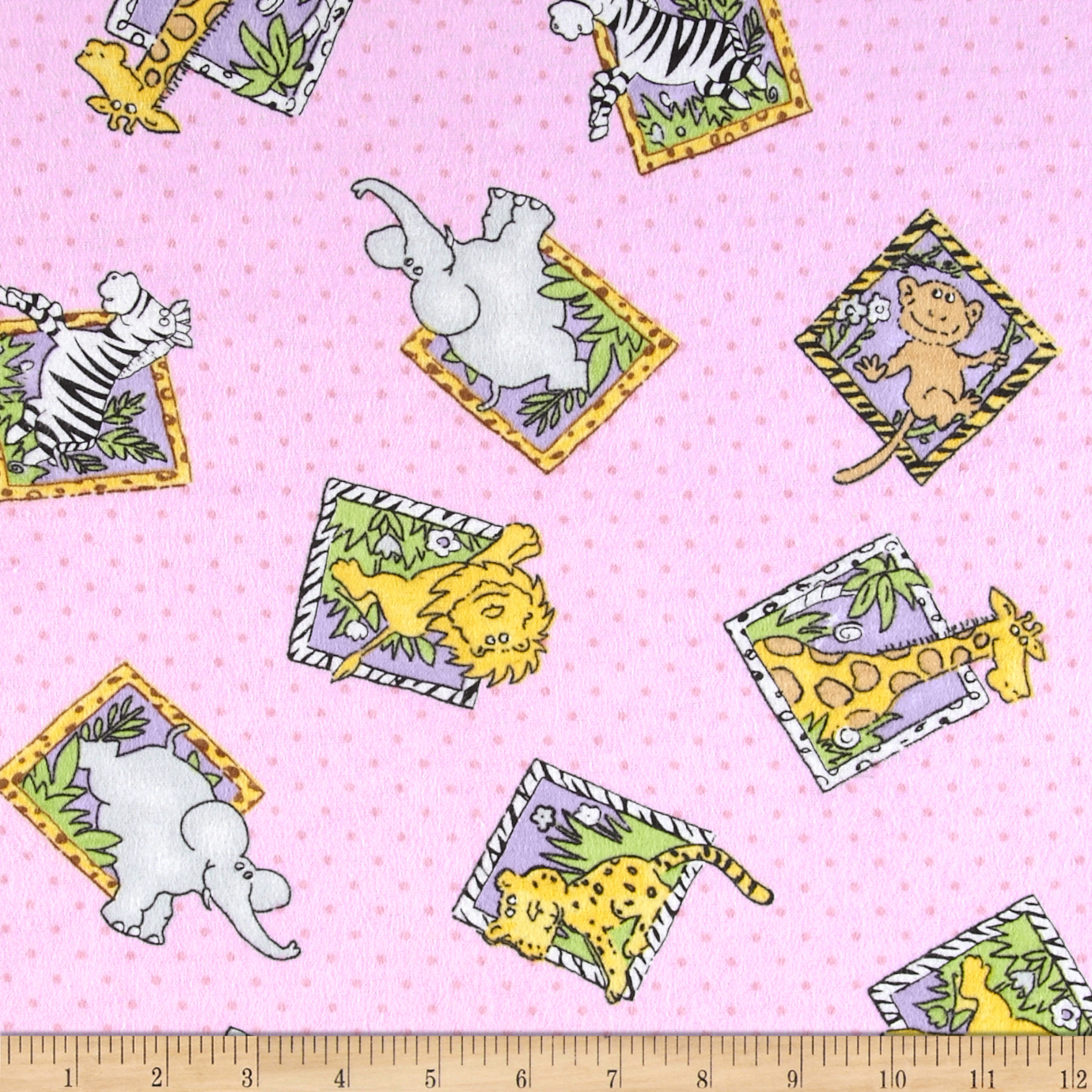 Flannel Block Jungle Animals Polka Dot Pink