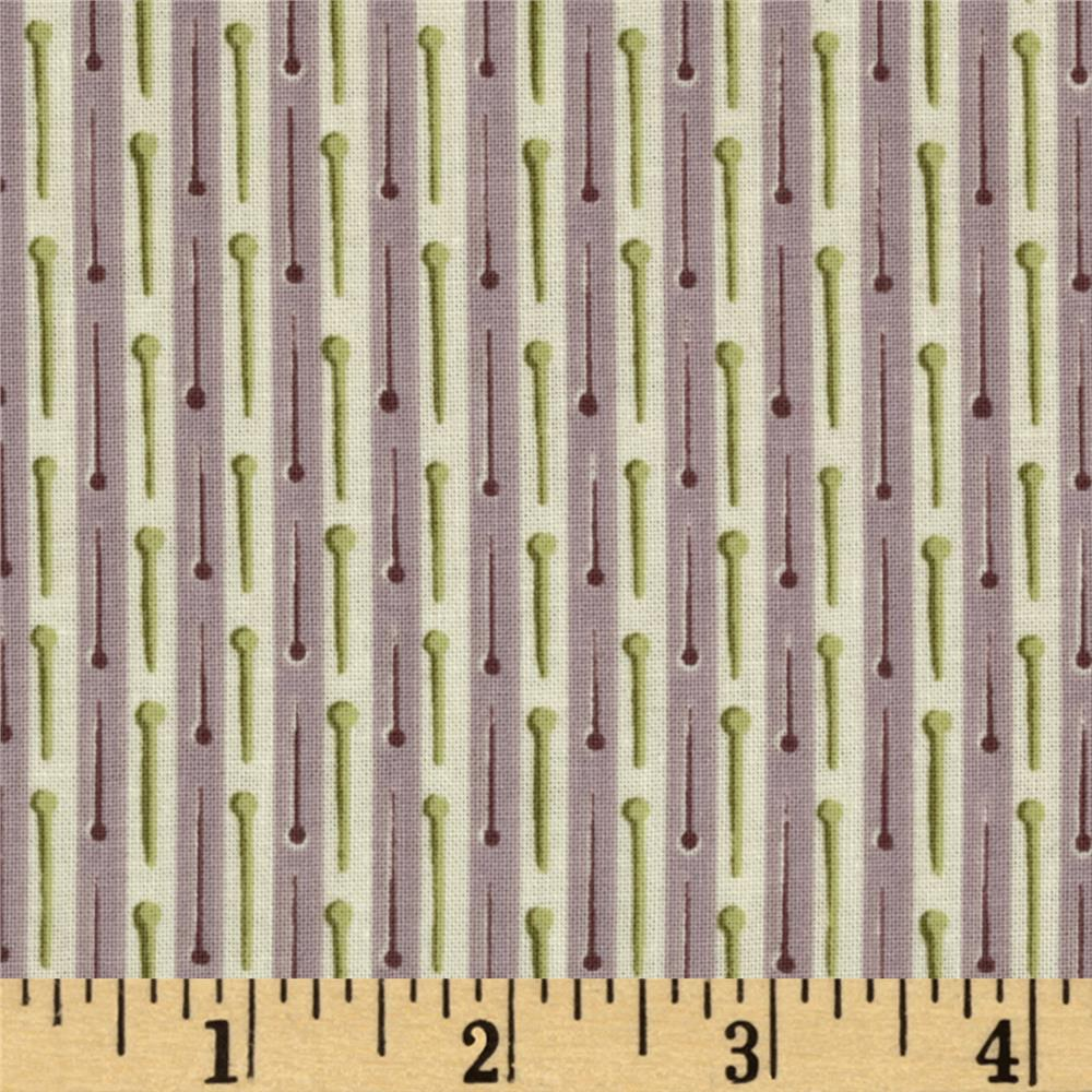 Button Tree Lane Pin Stripe Plum