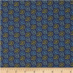 Ahoy Matey Sea Shells Navy Fabric