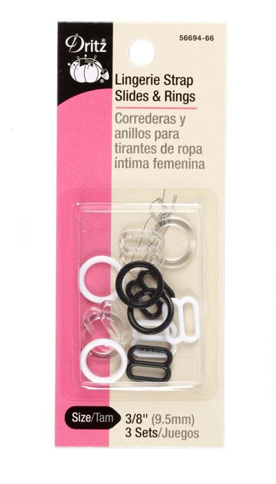 Dritz Lingerie Strap Slides & Rings 3/8'', 3/Sets