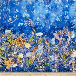 Michael Miller Flower Fairies Dawn Till Dusk Metallic Double Border Starlight