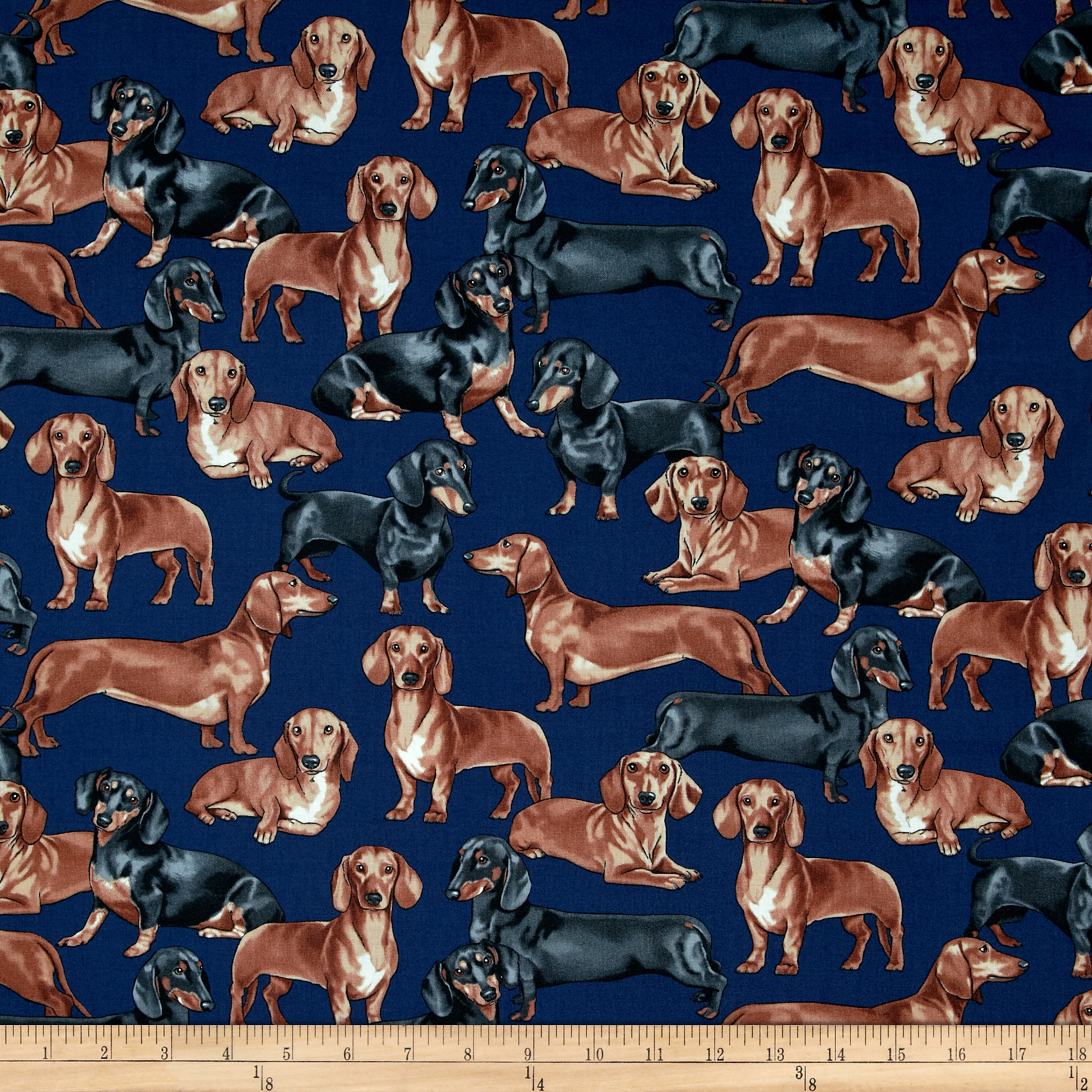 Timeless Treasures Dachshunds Navy Fabric