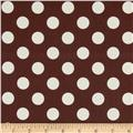 Riley Blake Le Creme Basics Medium Dots Brown/Cream