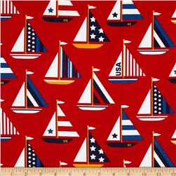 Timeless Treasures Sail Away Sailboats Red