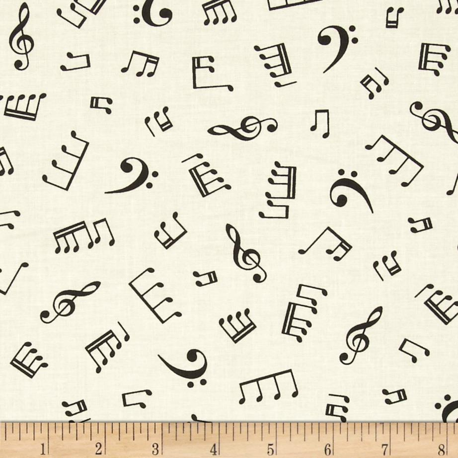 Kaufman In Tune Music Notes Cream