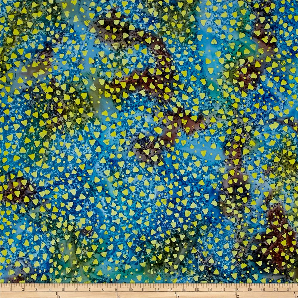 Indian Batik Gypsy Dots Blue/Yellow