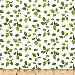 Into the Woods Flannel Leaves White/Green