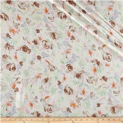 Italian Designer Silk Voile Floral Ivory/Taupe/Pastel