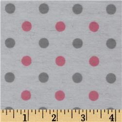 Dreamland Flannel Happy Dots White/Pink Carnation