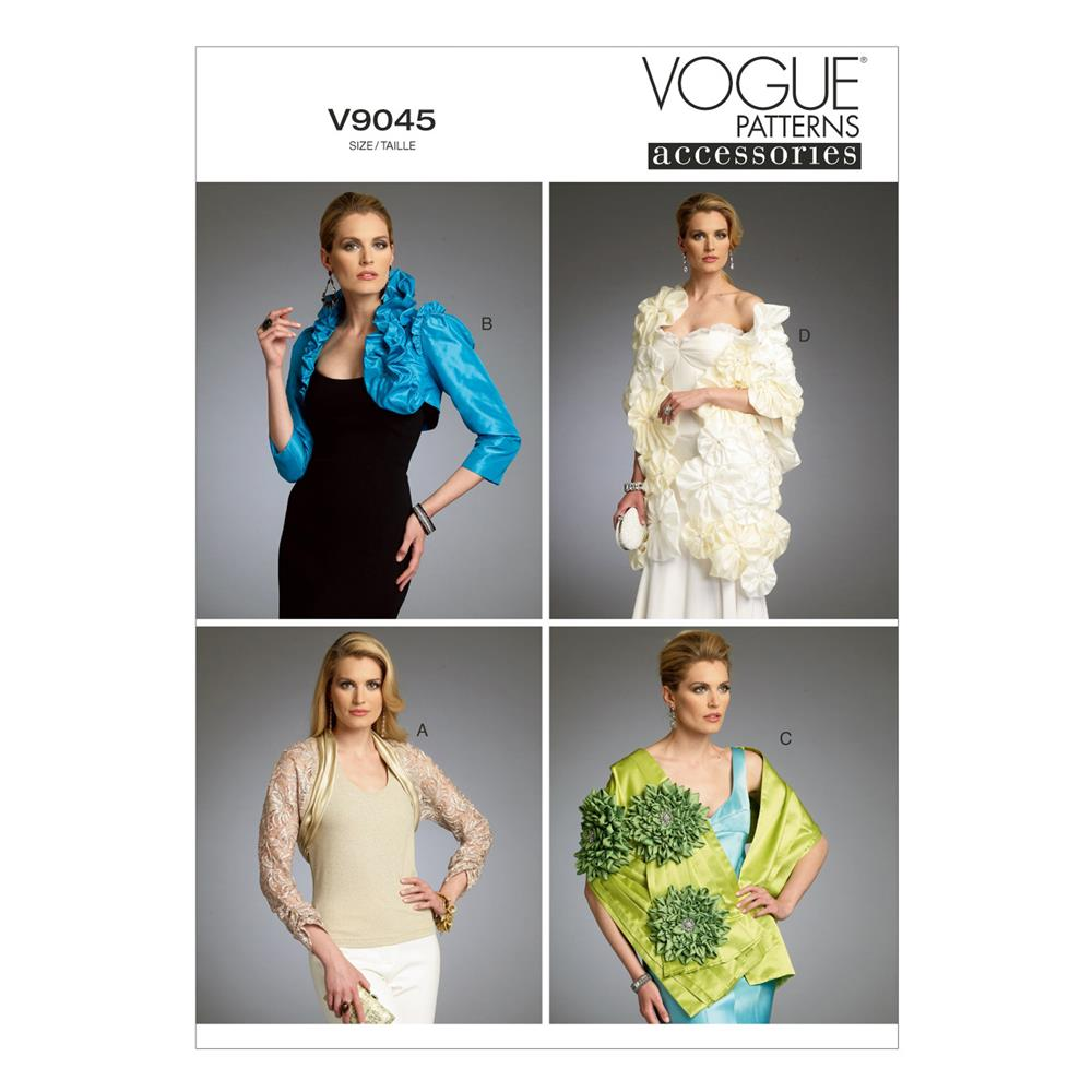 Vogue Misses' Shrug, Bolero and Wraps Pattern V9045 Size 0Y0