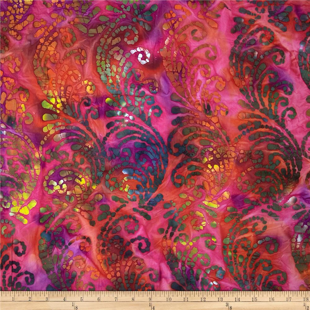 Indian Batiks Scroll Hot Pink