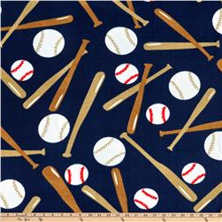 Sports Fleece Baseball Balls and Bats Navy