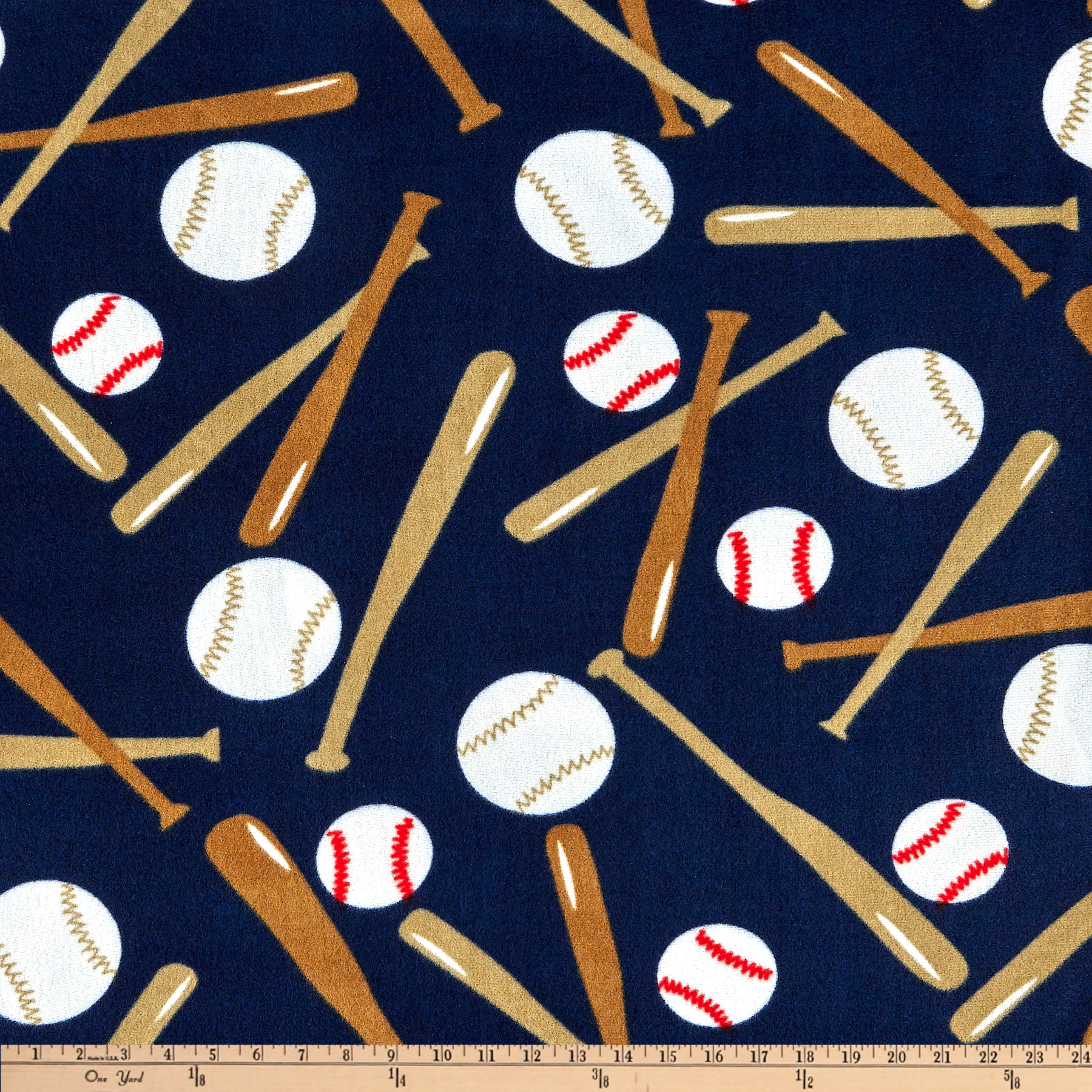 Sports Fleece Baseball Balls and Bats Navy Fabric