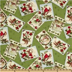 Moda Season's Greeting Tossed Cards Holly Leaves Green