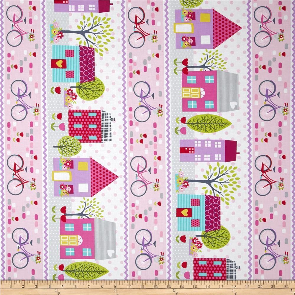 Around Town Border Stripe Pink