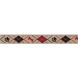 5/8'' Ribbon Doggy Argyle Red/Black