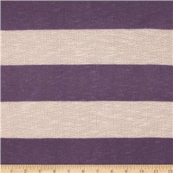 Pique Sweater Knit Stripes Purple/Tan