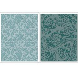 Sizzix Texture Fades Embossing Folders Damask & Regal Flourishes Set