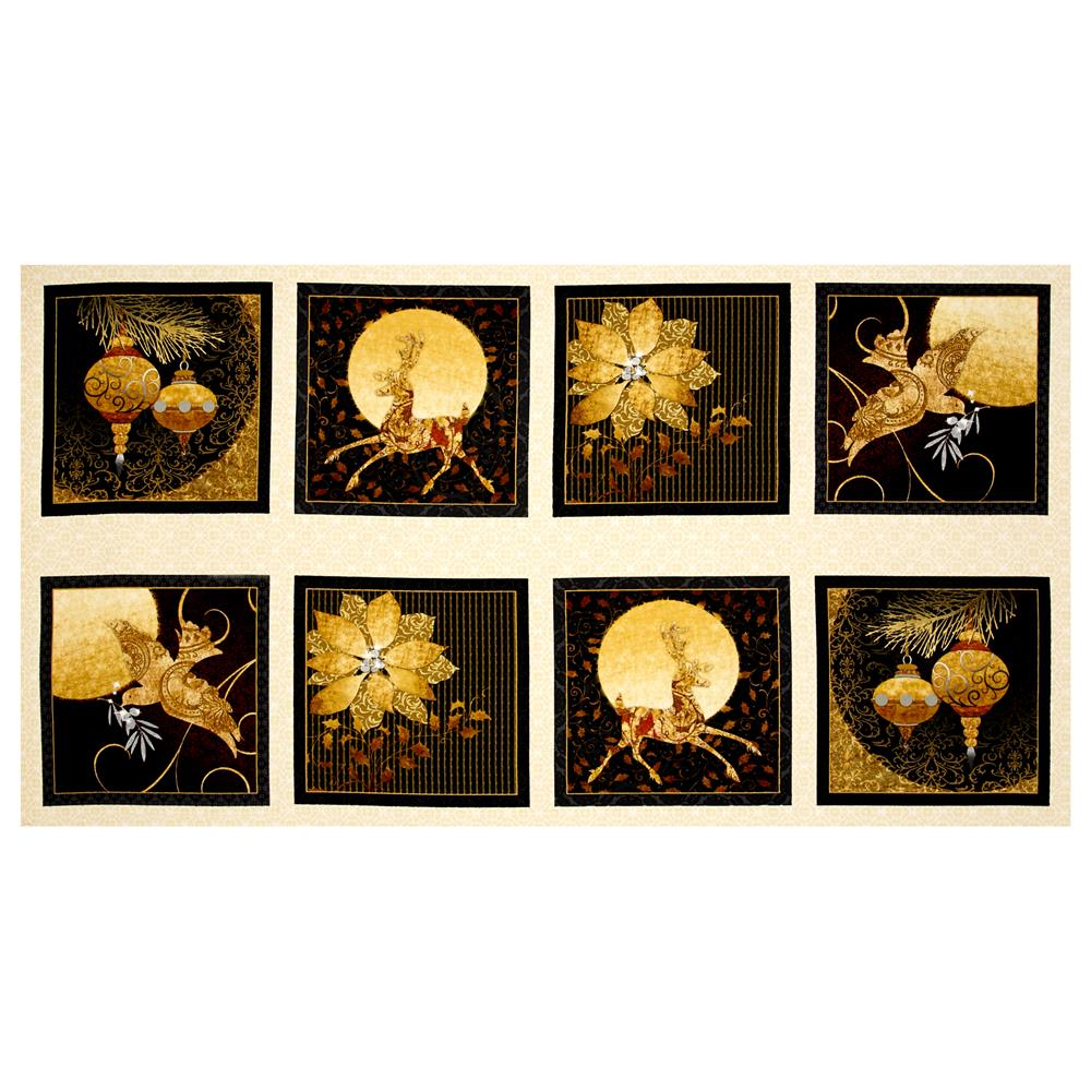 """A Golden Holiday Winter Picture 23.5"""" Patches Cream"""