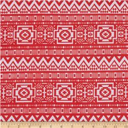 ITY Jersey Knit Aztec Coral/White