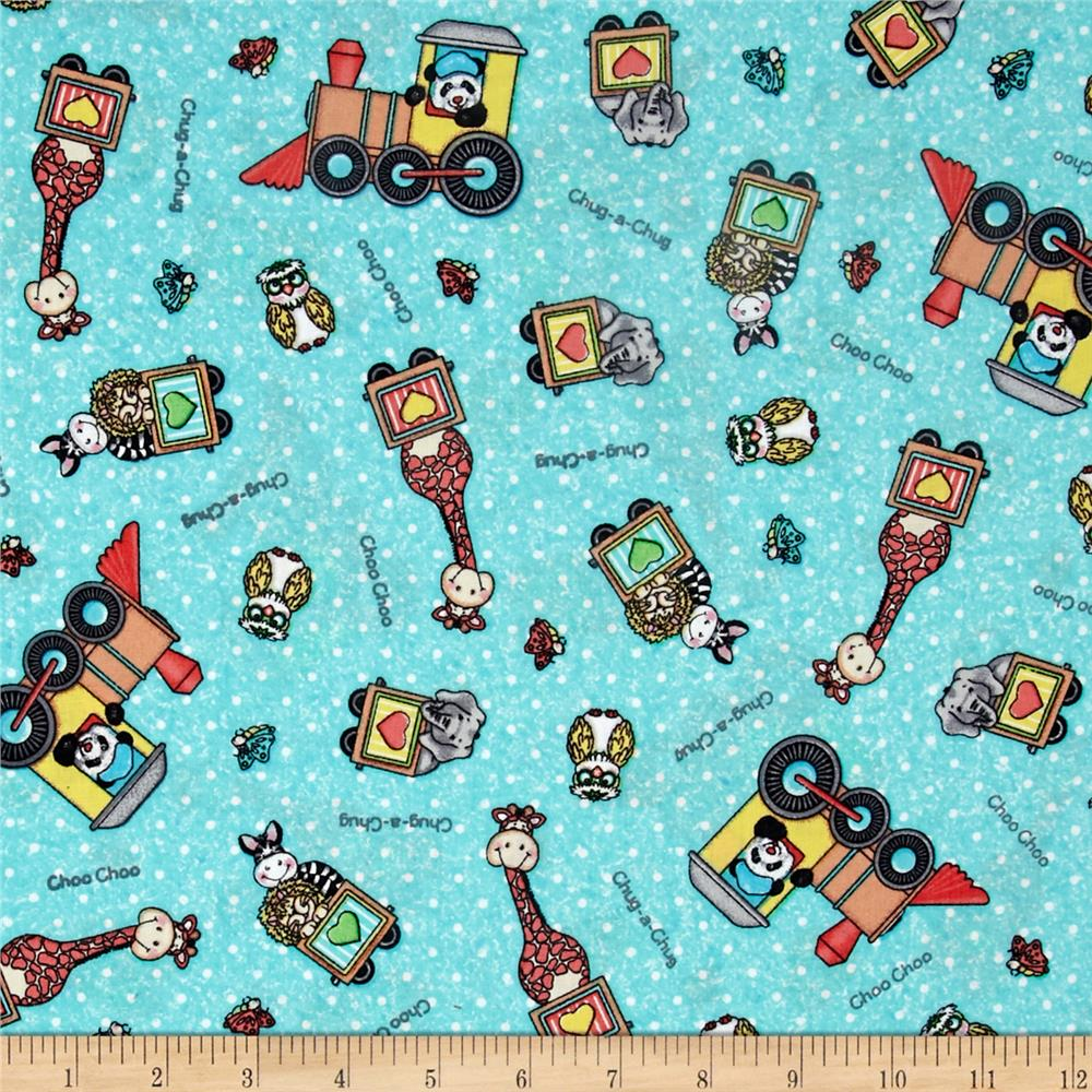 Nursery bazooples choo choo toss turquoise discount for Nursery fabric sale