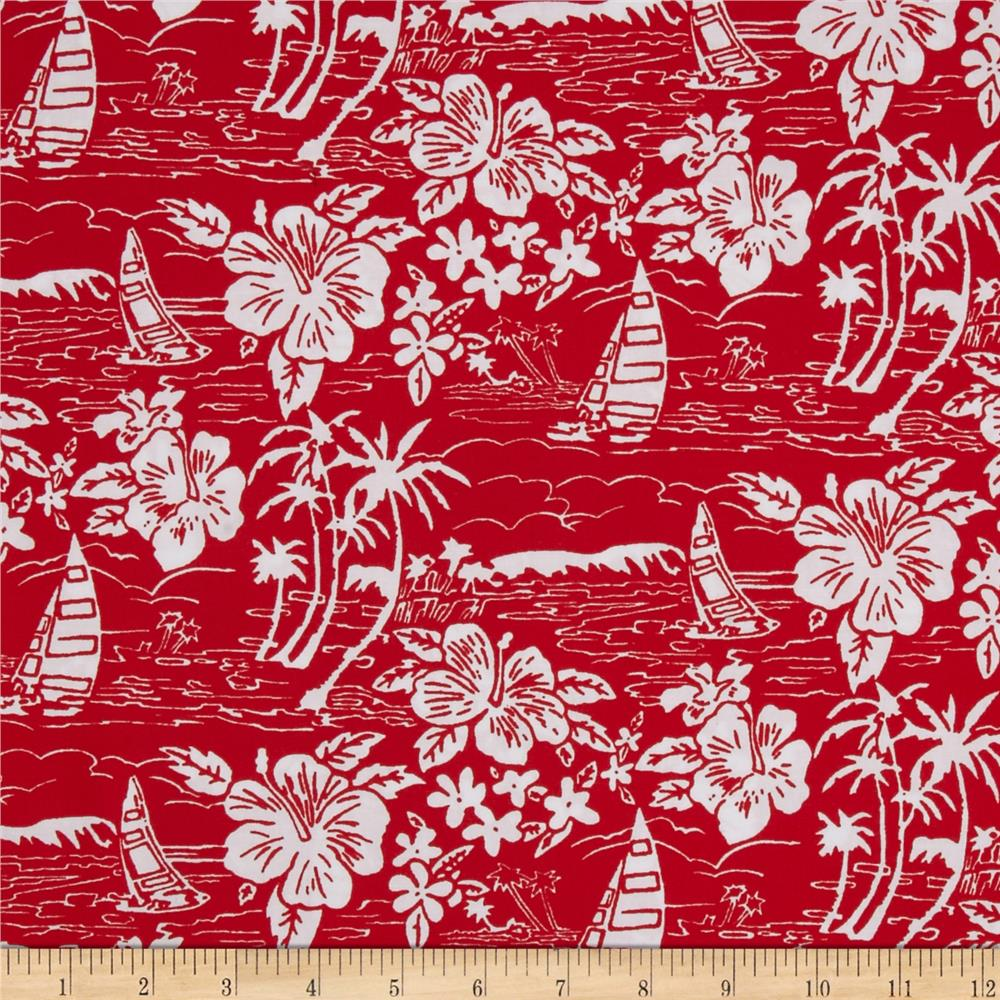 Hoffman Tropicals Sailboats and Flowers Red