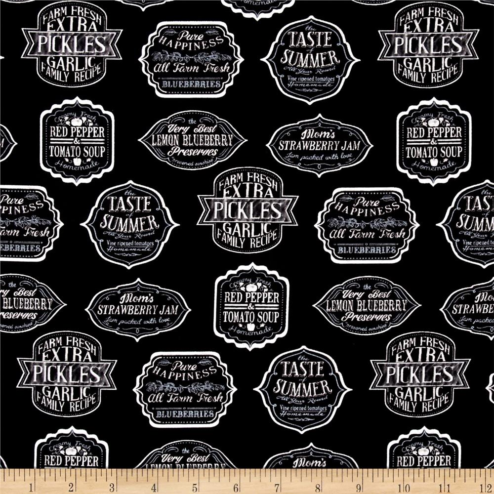 Kaufman Down on the Farm Canning Labels Black
