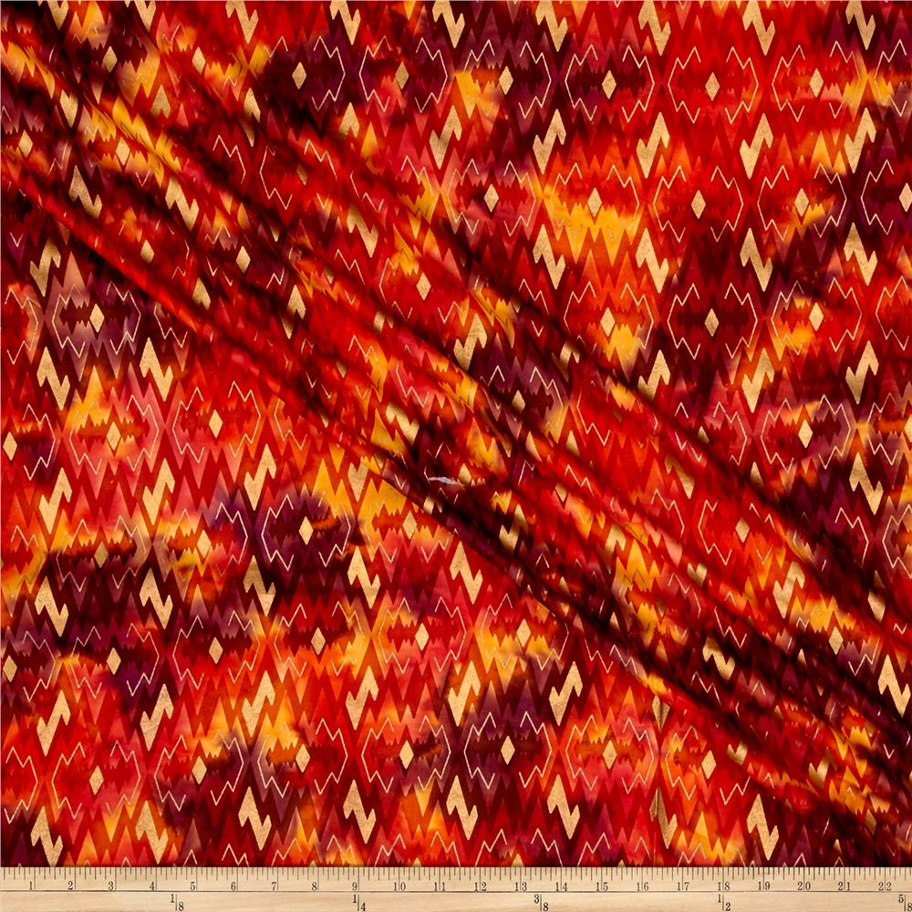 Indian Batik Montego Bay Gold Chevron Orange