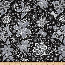 Ink Blossom Whimsy Floral Black