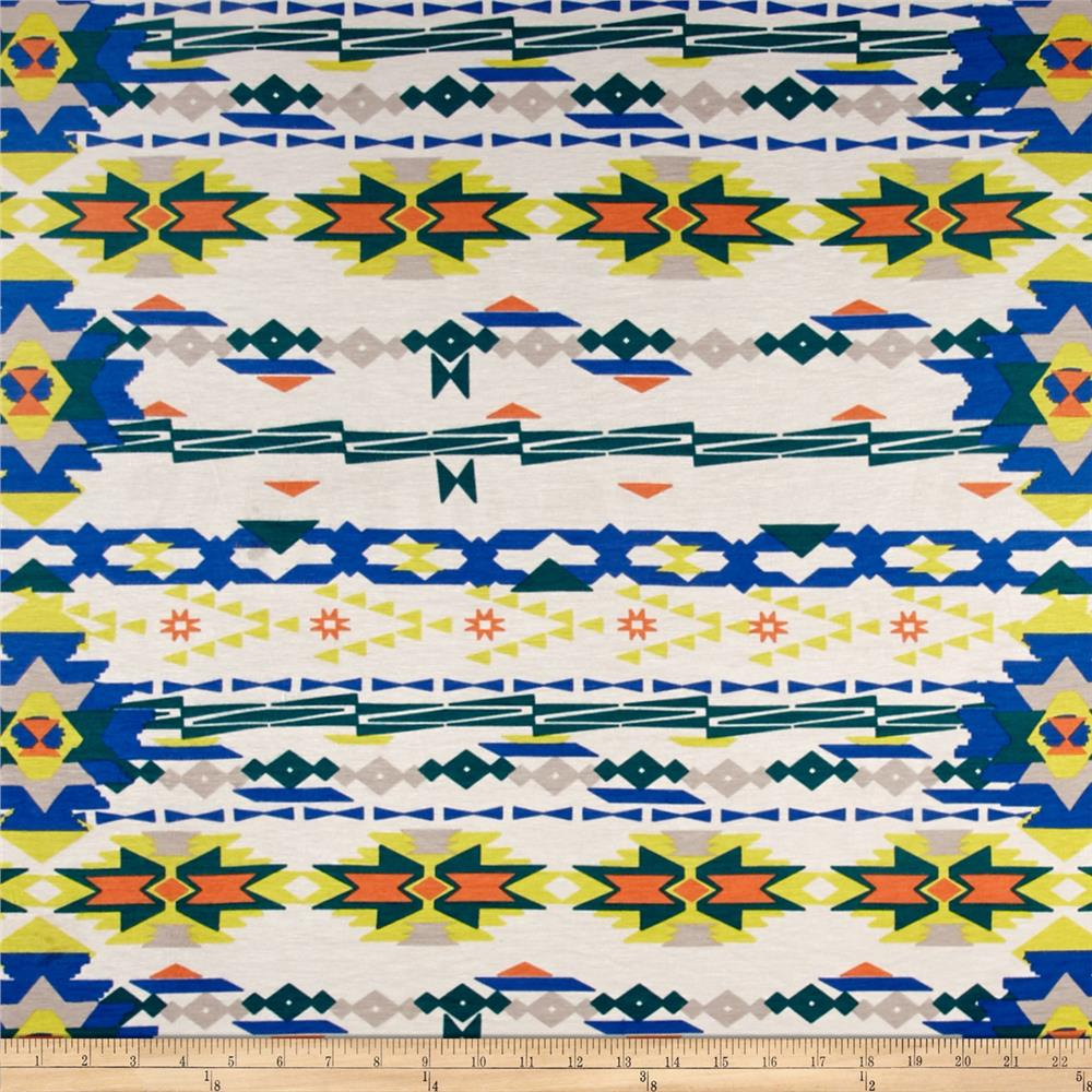 Watercolor Jersey Knit Aztec Royal Fabric By The Yard